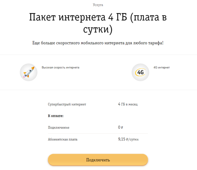 Пакет интернета 4Гб